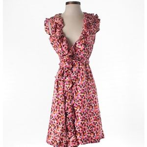 Kate Spade Printed Silk Wrap Dress